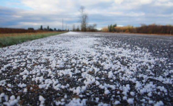 Image of salt on road