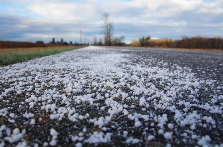 Image of salt on road