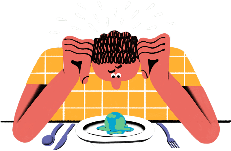 Artwork of person staring at plate with earth melting