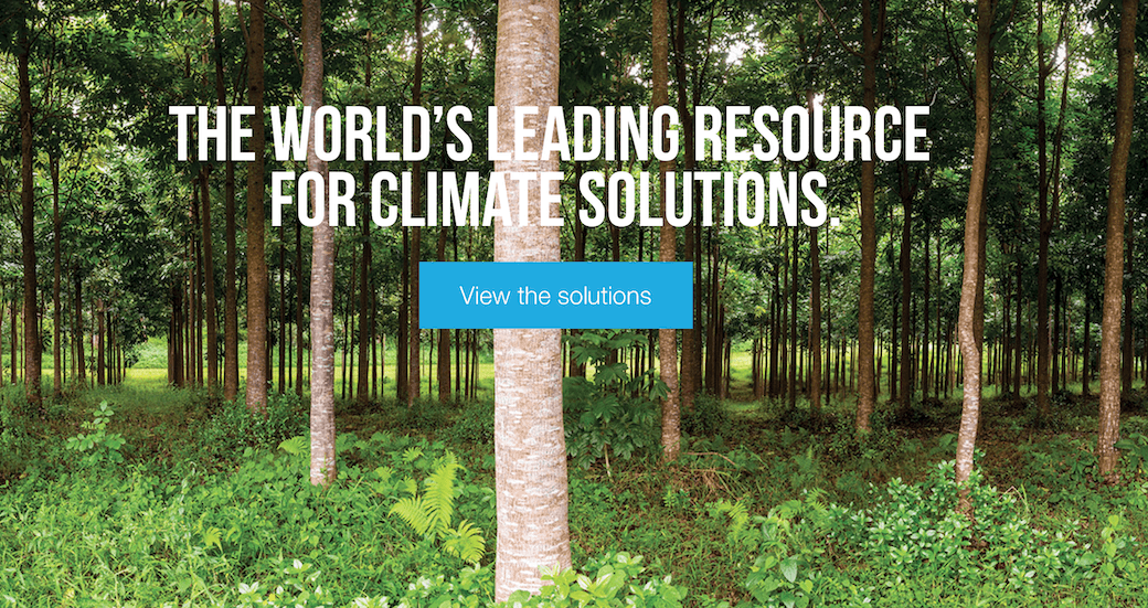 The World's Leading Resource of Climate Solutions with forest in background