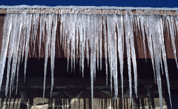 Image of icicles along gutter on home