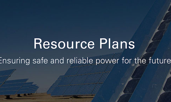 Image of solar array and Resource Plans text