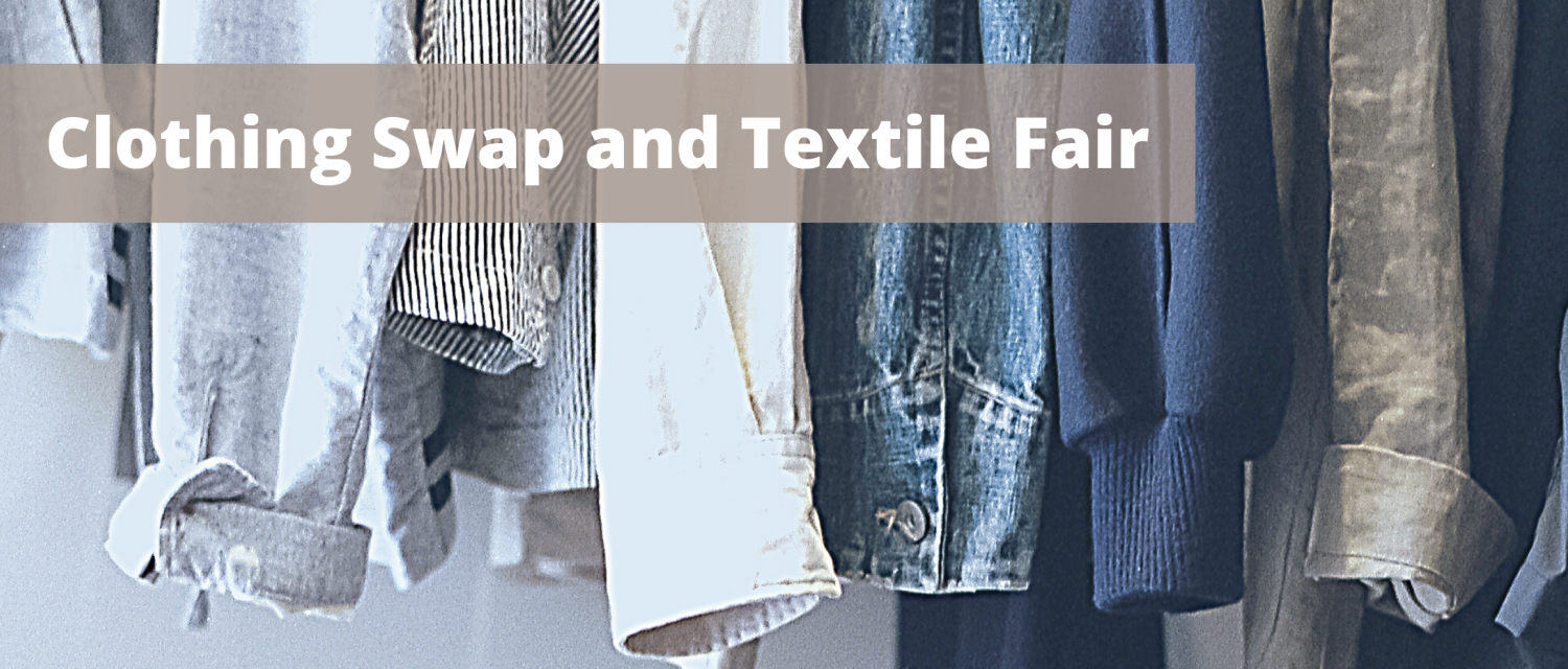 Image of clothing with text Clothing Swap and Textile Fair