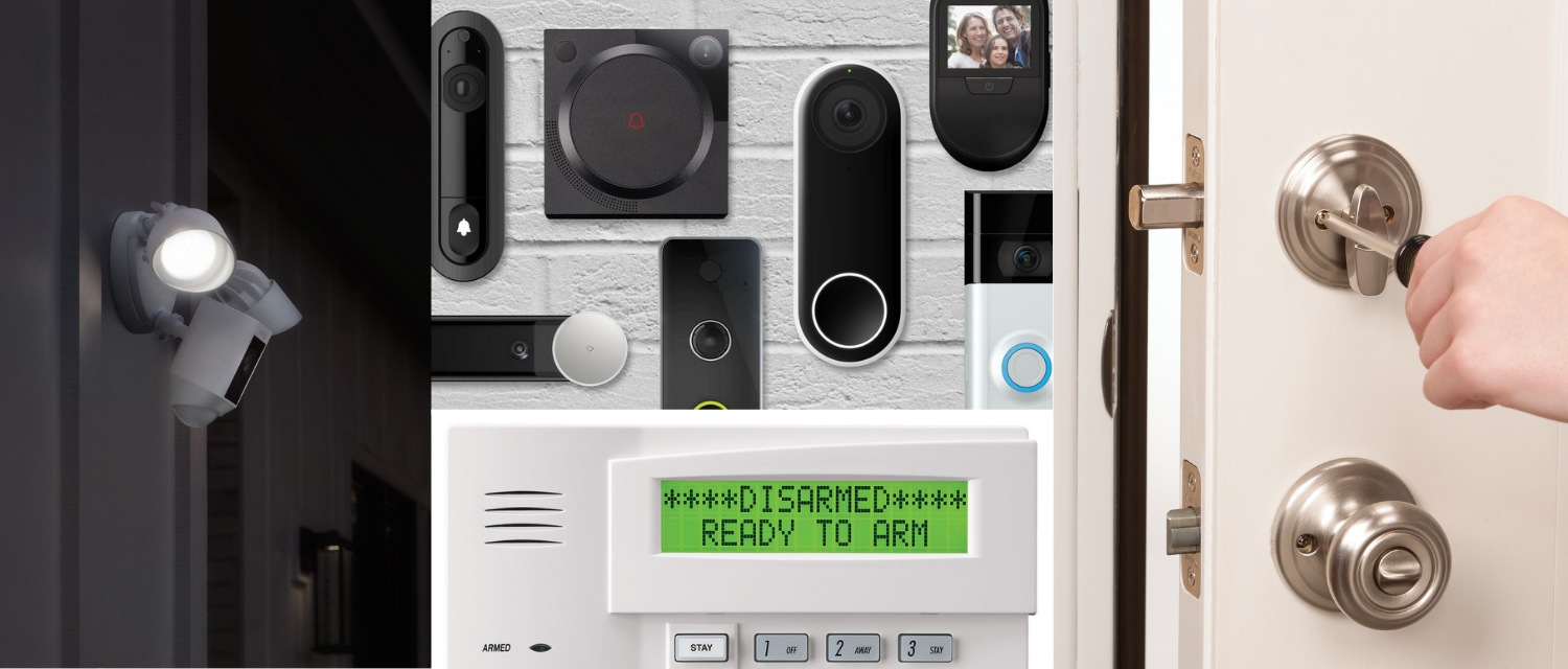 Images of motion light, video door bells, lock and key, alarm system
